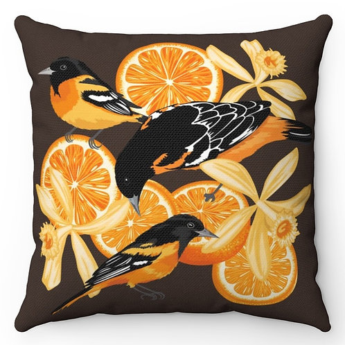 Spun Polyester Square Pillow with Insert - Birds, Oranges & Vanilla flowers