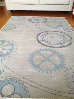 Sample Sale Clockwork Blue Hand Knotted 5 X 8 New Zealand Wool Area Rug