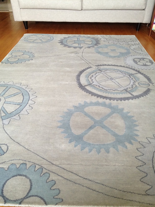 Steampunk industrial clock gear blue/gray hand-knotted custom New-Zealand wool custom area rug, Judit Gueth Design in Toronto