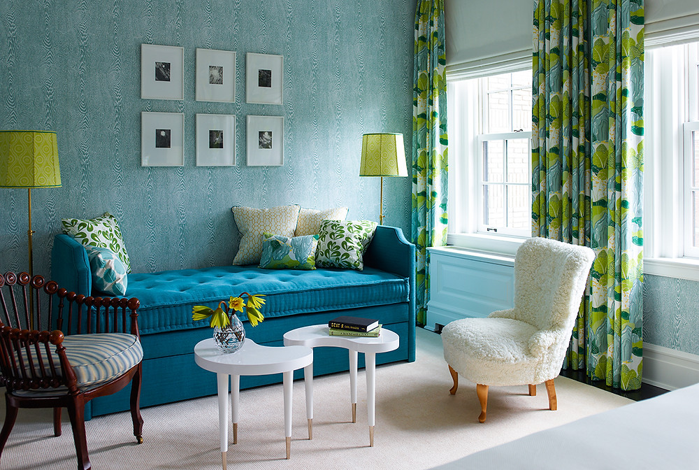 A beautiful example of an analogous colour scheme, the blues and greens creating a harmonious look which is accented with white. Image: Katie Ridder www.katieridder.com
