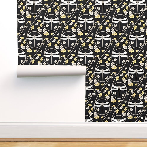 Dragonfly Black and Yellow Peel & Stick or Prepasted Wallpaper