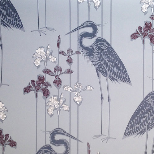 Great Blue Heron gray birds, irises matte clay coated wallcovering, grey/white/maroon wallpaper, Judit Gueth Design, Toronto