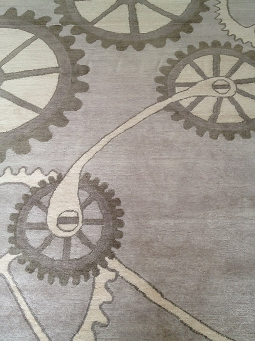 Steampunk industrial clock gear taupe hand-knotted custom New-Zealand wool custom area rug, Judit Gueth Design in Toronto