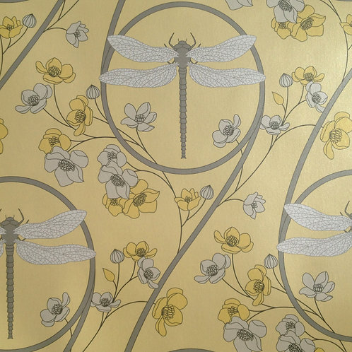 Dragonflies yellow Asian style pearlized Mica clay coated wallcovering, yellow/cream wallpaper, Judit Gueth Design, Toronto