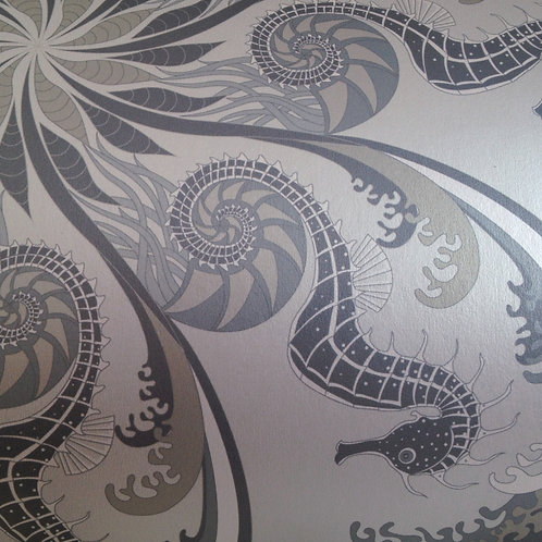 Seahorse nautical pearlized Mica unpasted wallcovering, clay coated wallpaper for walls, Judit Gueth Design, Toronto