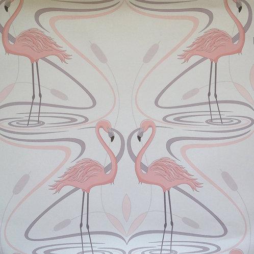 Pink Flamingos birds Art Deco style matte clay coated wallcovering, pink/grey wallpaper, Judit Gueth Design, Toronto