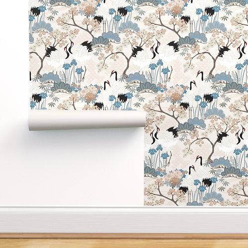 Japanese Garden Beige Peel & Stick or Prepasted Wallpaper