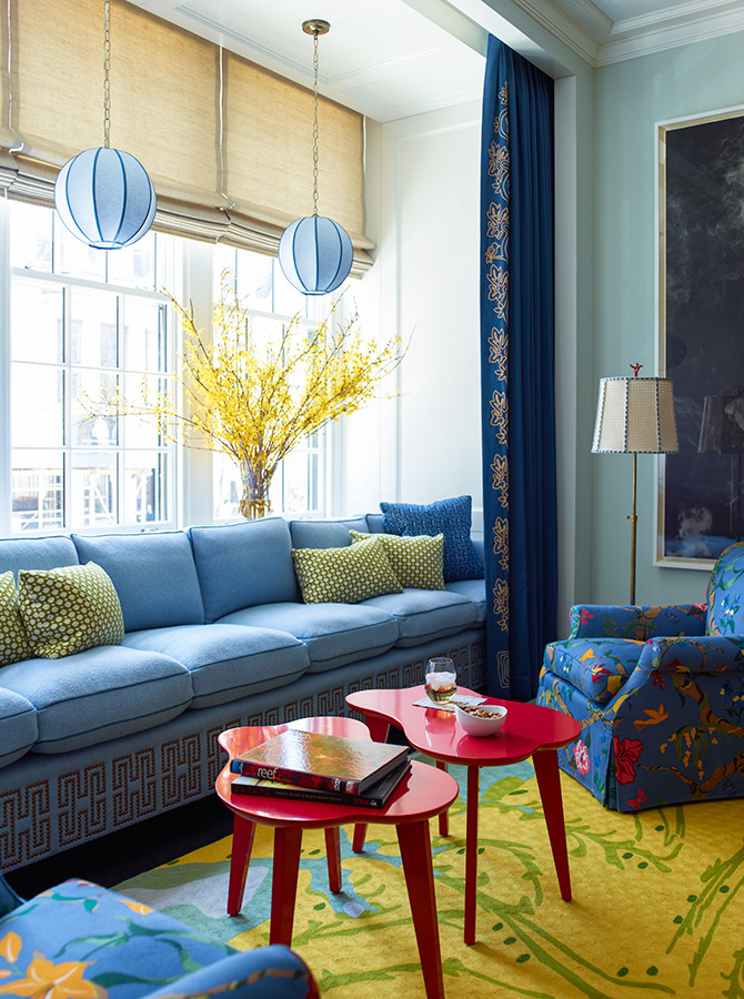 The primary colours red, yellow and blue create a lot of excitement in this design and the shades of blue paired with green tones it down enough to make it gorgeous! Image: Katie Ridder www.katieridder.com
