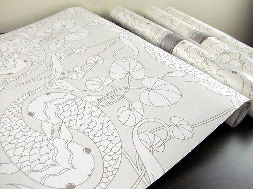 """Koi Silver 18"""" x 30' Prepasted SALE Nonwoven Wallpaper"""