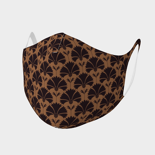 Face Mask Double Knit Precision Cut Poly/Spandex  - Carnations Brown