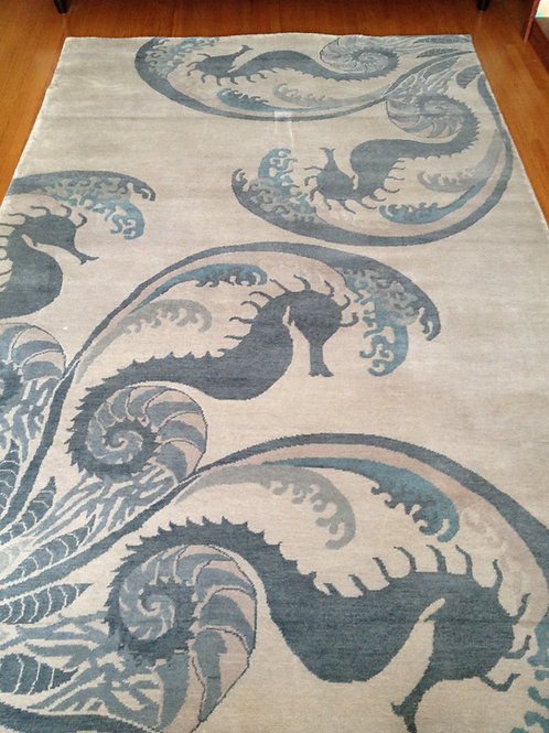 Seahorse ocean themed nautical blue and gray hand-knotted New-Zealand wool custom area rug at Judit Gueth Design in Toronto