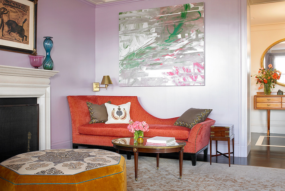 This room is so calm and serene. The analogous coral, pink and yellow are accented with greens. Image: Katie Ridder www.katieridder.com