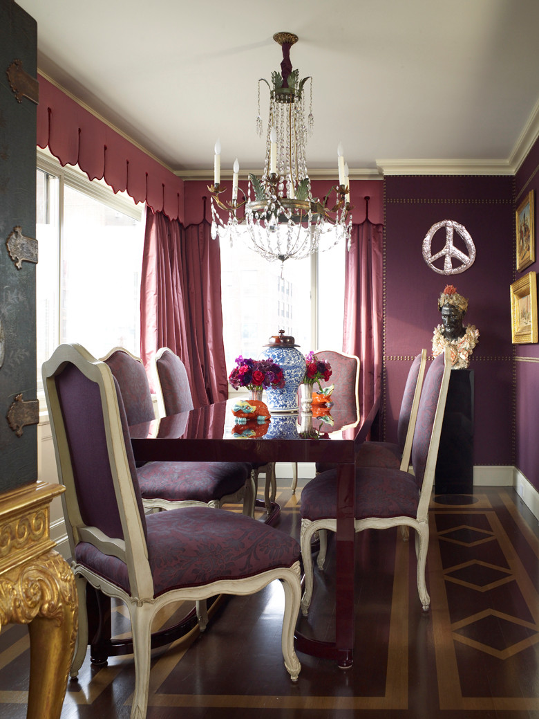 The rich purple and gold gives this room such a regal feel. Even with the peace symbol! Image: Alex Papachristidis on Judit Gueth's blog