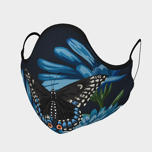 Face Mask with 2 Filters, Adjustable Steel Nose Wire - Black Swallowtail