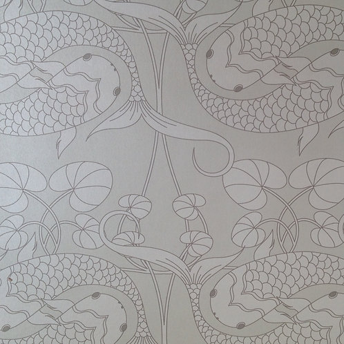 Koi fish carp Asian style matte clay coated wallcovering, silver grey wallpaper for walls, Judit Gueth Design, Toronto