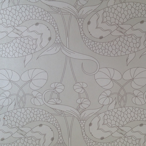 Koi Fish Carp Asian Style Matte Clay Coated Wallcovering Silver Grey Wallpaper For Walls