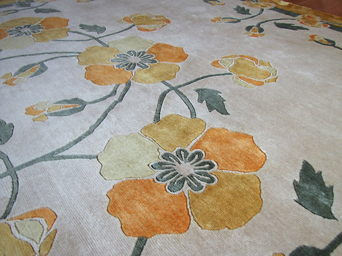 Poppies floral yellow hand-knotted New-Zealand wool custom area rug at Judit Gueth Design in Toronto,  sample sale 5x8