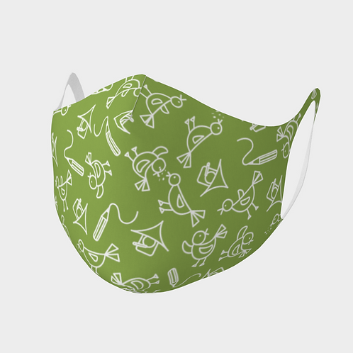 Face Mask Double Knit Precision Cut Poly/Spandex  - Scribbles Green