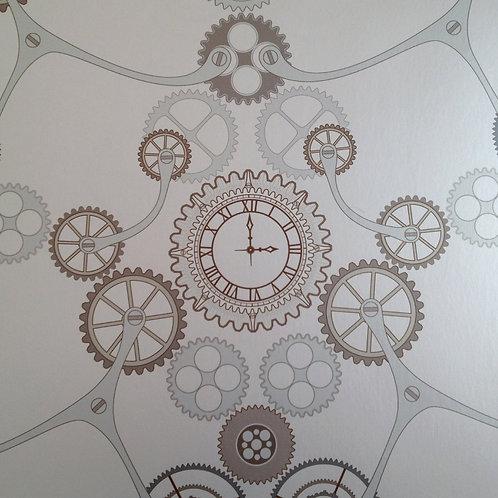 Steampunk clock gear, clock pearlized Mica clay coated wallcovering, copper/grey wallpaper, Judit Gueth Design, Toronto
