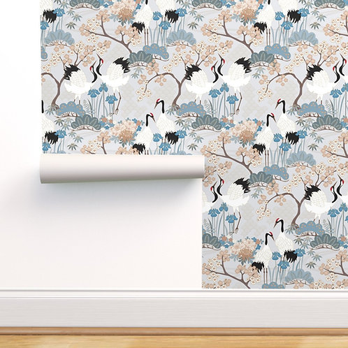 Japanese Garden Grey Peel & Stick or Prepasted Wallpaper