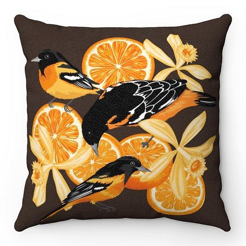 Birds, Oranges & Vanilla Flowers - Faux Suede Square Pillow