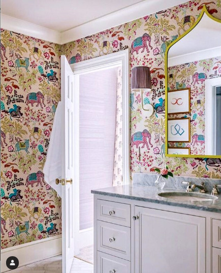 Fun and colourful powder room with elephants. Image from Charlotte Lucas Design