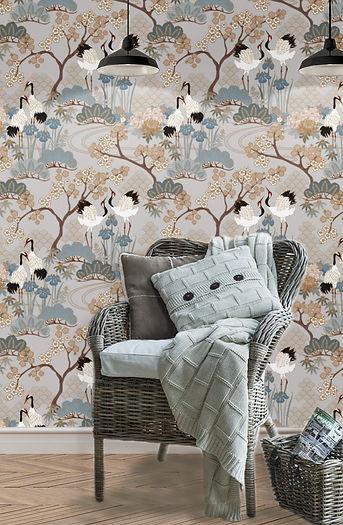 wallpaper, wallcovering, high end wallpaper Japanese Garden Grey, wallpaper in Toronto, Wallpaper Canada