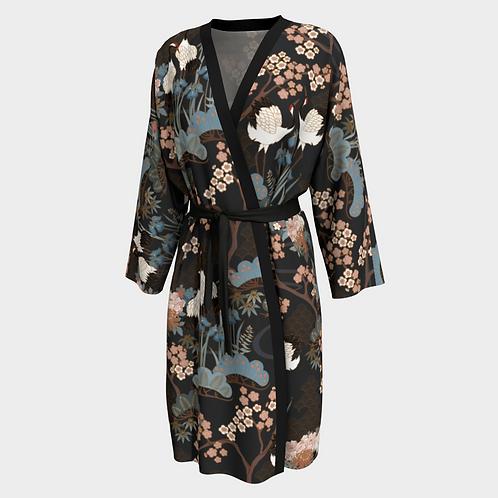 Japanese Garden Dark Long Kimono Peignoir