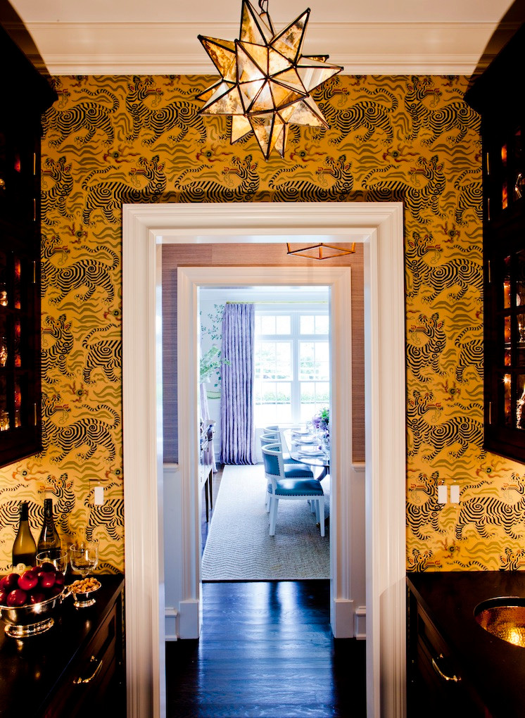 Rich golds with the Clarence House Tibet wallpaper. Image: Ashley Whittaker Design