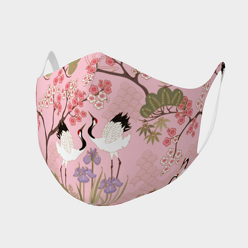 Face Mask Double Knit Precision Cut Poly/Spandex  - Japanese Garden Pink