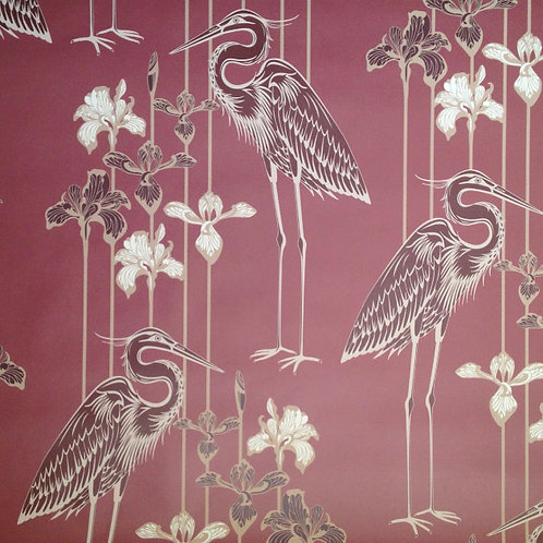 Great Blue Heron birds, irises matte clay coated wallcovering, marsala/wine/brown wallpaper, Judit Gueth Design, Toronto