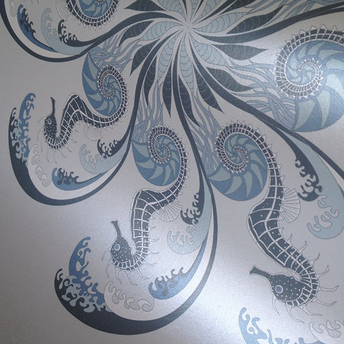 Seahorse blue nautical ocean theme wallcovering, unpasted pearlized Mica wallpaper for walls, Judit Gueth Design, Toronto