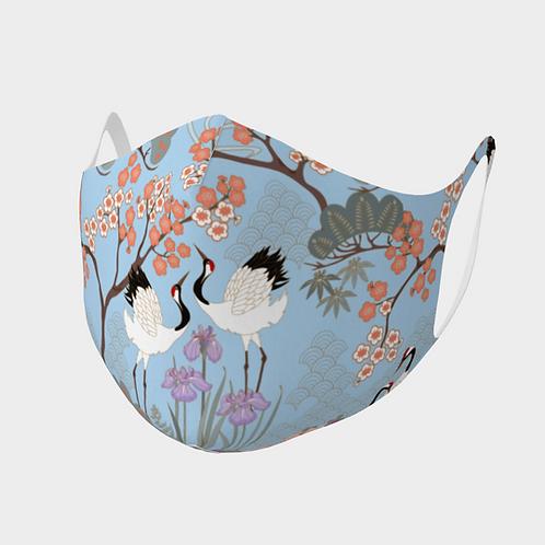 Face Mask Double Knit Precision Cut Poly/Spandex  - Japanese Garden Blue