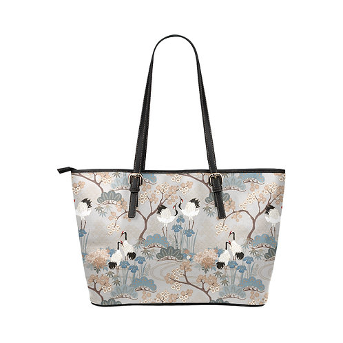Vegan Leather Tote Bag Small - Japanese Garden Gray