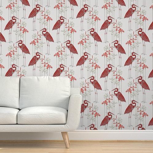 Heron Red Peel & Stick or Prepasted Wallpaper