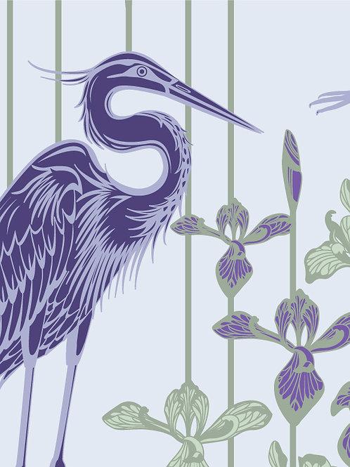 Great Blue Heron purple birds, irises wallcovering, lilac/green wallpaper for walls, Judit Gueth Design, Toronto