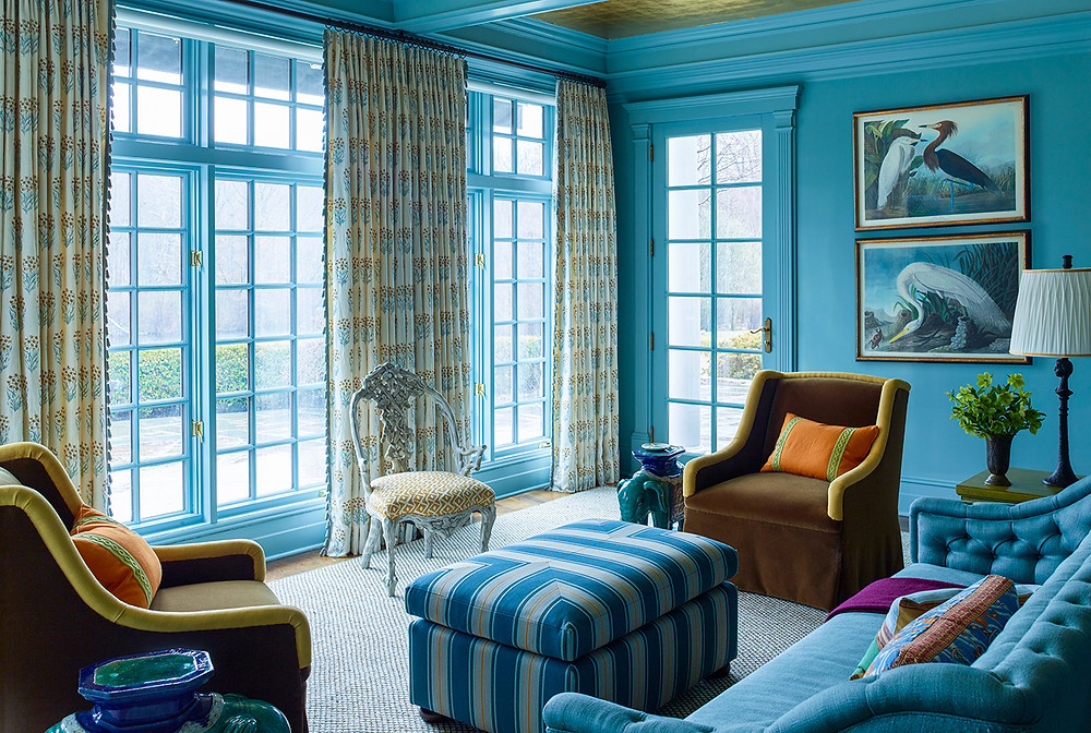 I love the mood of this blue room. It's bright and calming at the same time. Image: Katie Ridder www.katieridder.com