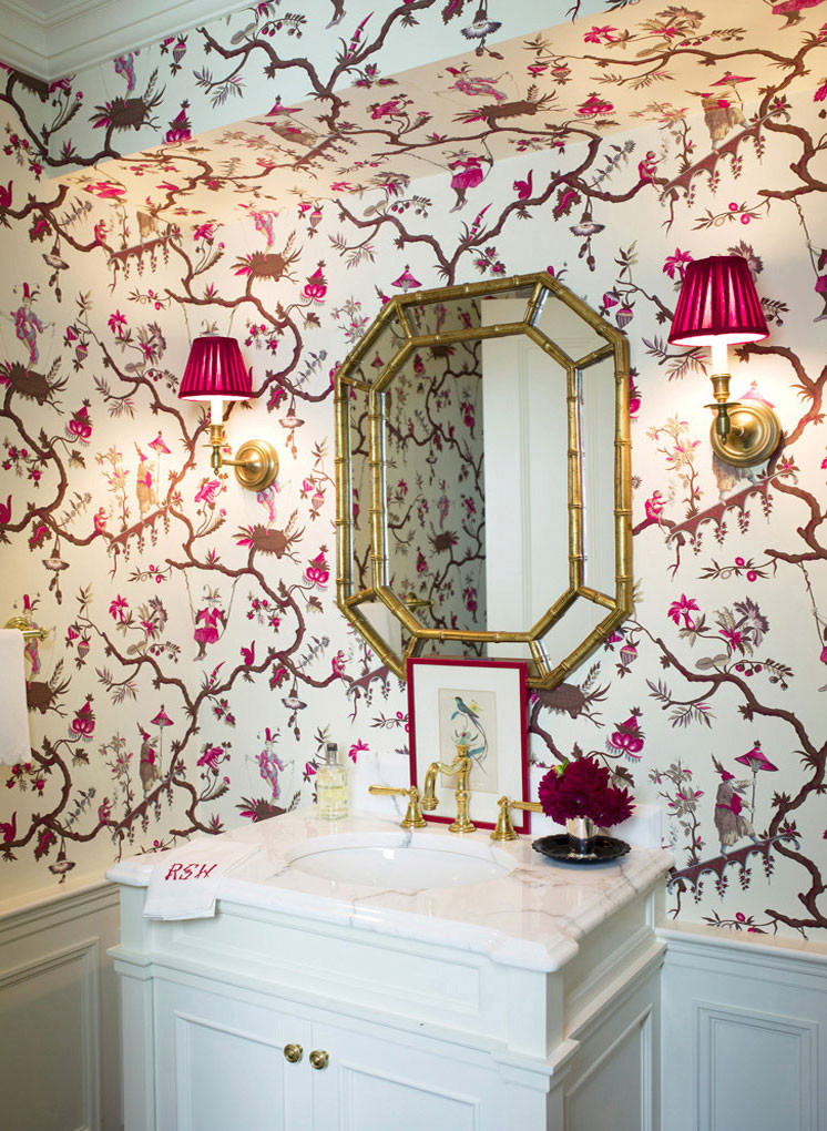Beautiful Chinoiserie powder room. Image: Ashley Whittaker Design