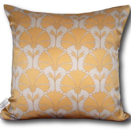 Yellow Decorative 16x16 Digitally printed Silk Throw Cushion, buy at Judit Gueth Wallpaper, Rug and Textile Design in Toronto