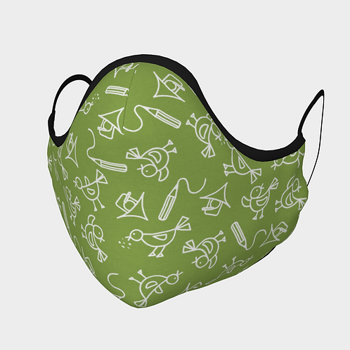 Face Mask with 2 Filters, Adjustable Steel Nose Wire - Scribbles Green