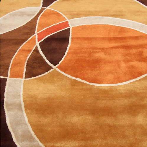 Circles graphic modern geometric orange/brown hand-tufted New-Zealand wool custom area rug, Judit Gueth Design, Toronto