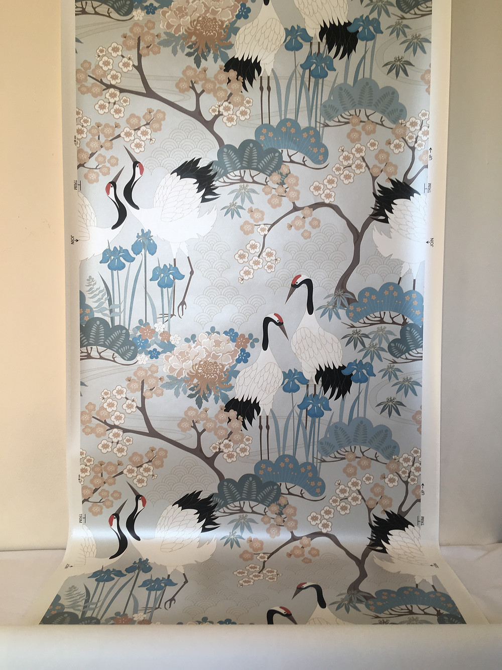 Japanese Garden in Gray wallcovering from Judit Gueth Design on sale