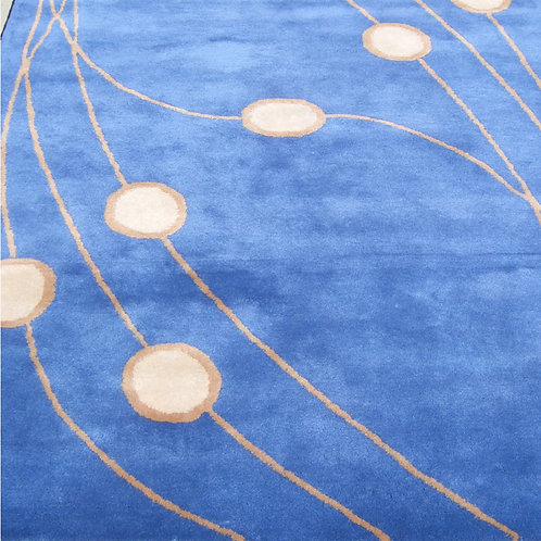 Blue geometric modern contemporary blue/orange hand-tufted New-Zealand wool custom area rug, Judit Gueth Design in Toronto