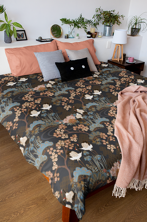 Duvet Cover -Cotton Sateen -Japanese Garden Charcoal