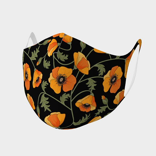 Face Mask Double Knit Precision Cut Poly/Spandex  - California Poppies