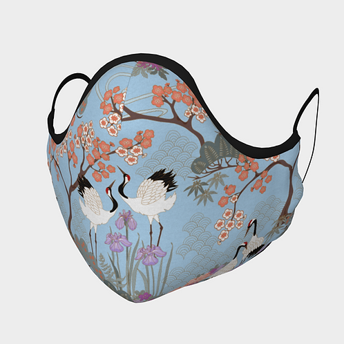 Face Mask with 2 Filters, Adjustable Steel Nose Wire - Japanese Garden Blue