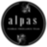 The Alpas Floral Freelance Team Logo slowly fades onto a black background.