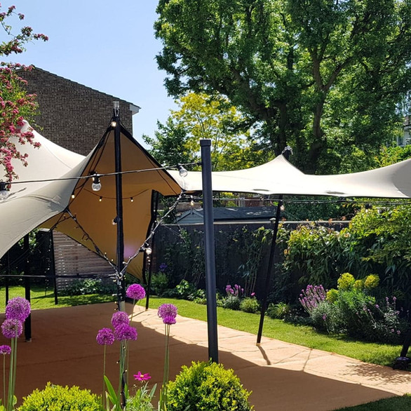 Stretch Tent in a garden