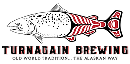 "Turnagain Brewing Logo featuring a salmon with front half sketched and tail half featuring red and black pacific northwest native tribal design. Text below image: Turnagain Brewing and tag line ""Old World Tradition...The Alaskan Way"