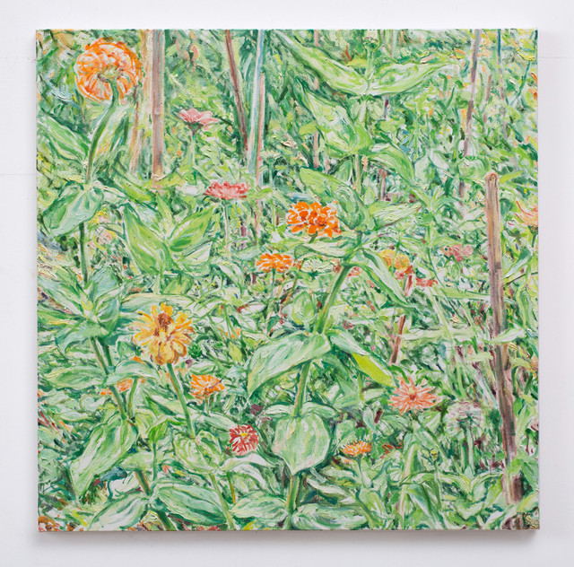Learning to paint - Zinnia in Garden #5